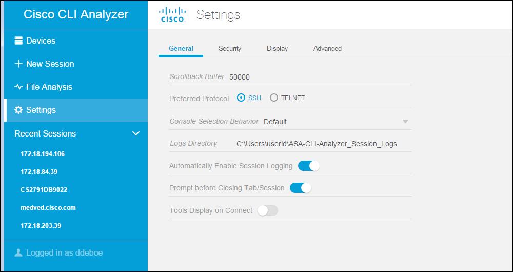 Cisco CLI Analyzer Help Guide - Global Console Settings